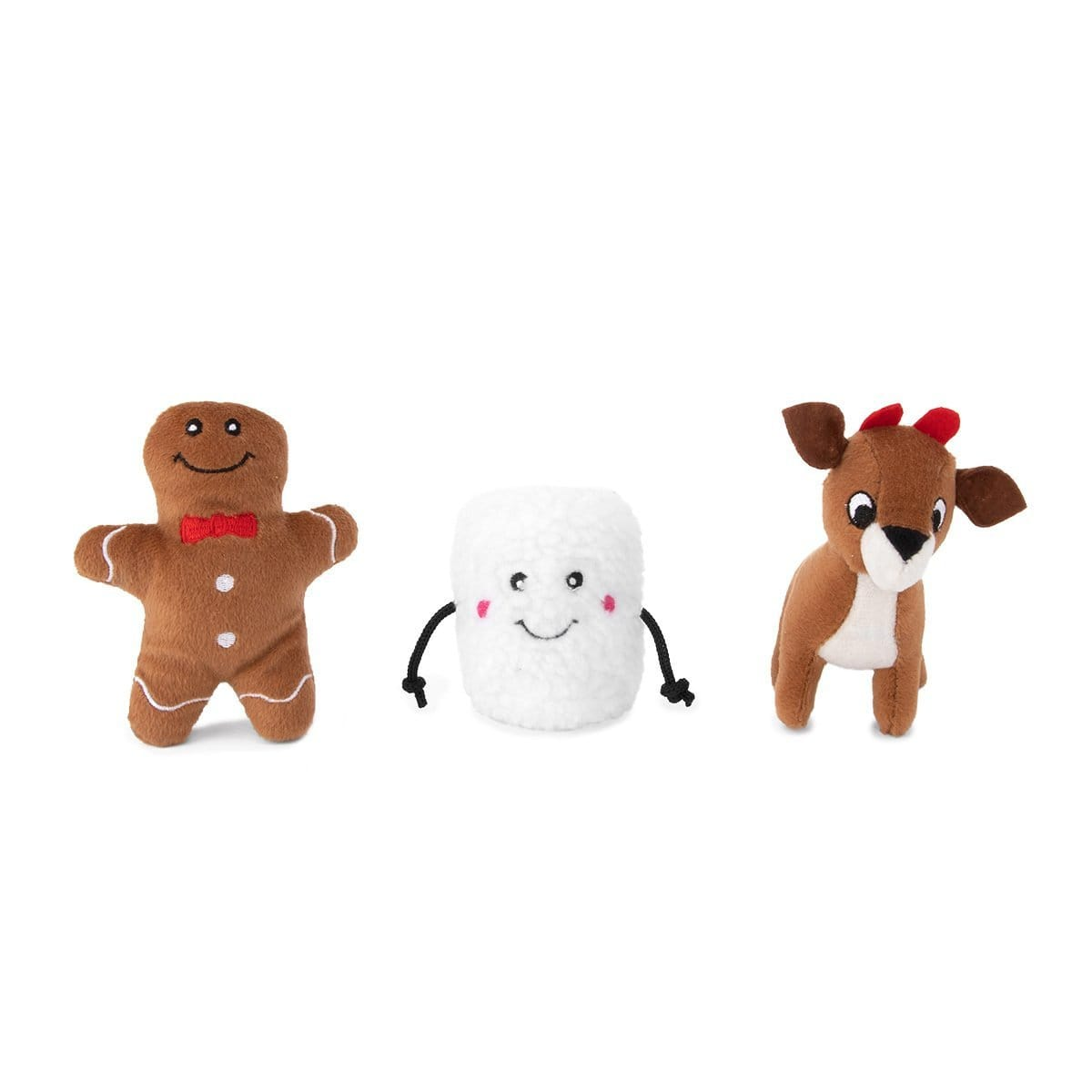 Zippy Paws Holiday Miniz 3-Pack Santa's Friends Dog Toys