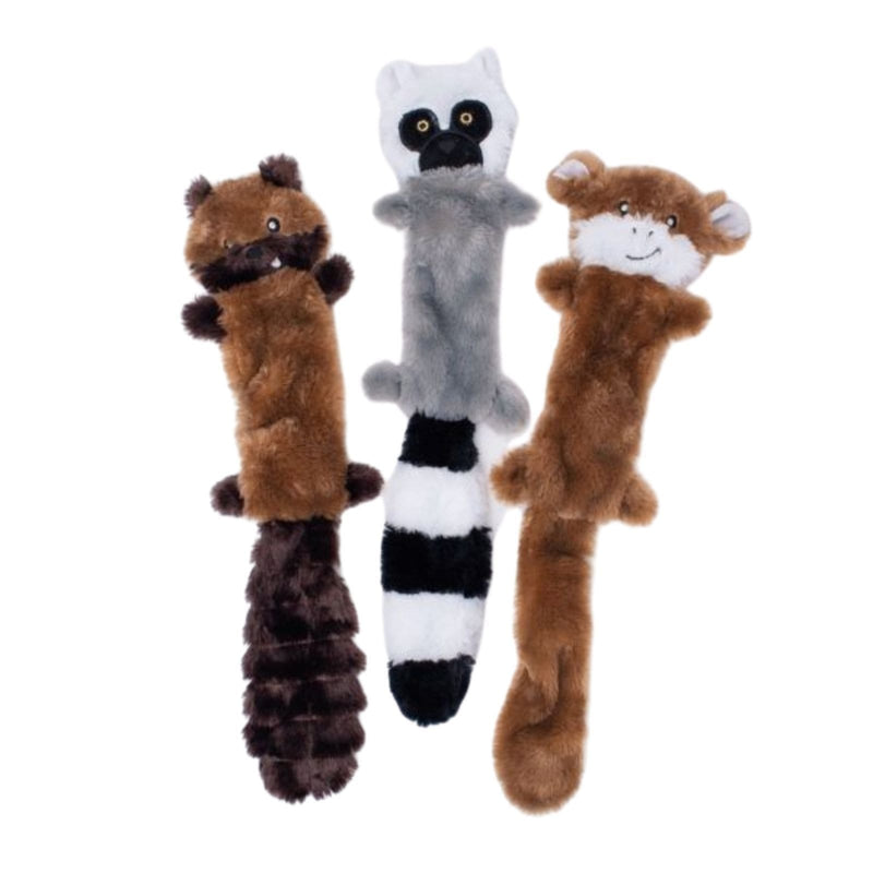 Zippy Paws Skinny Peltz 3-Pack Large (Chipmunk, Lemur, Monkey) Dog Toys
