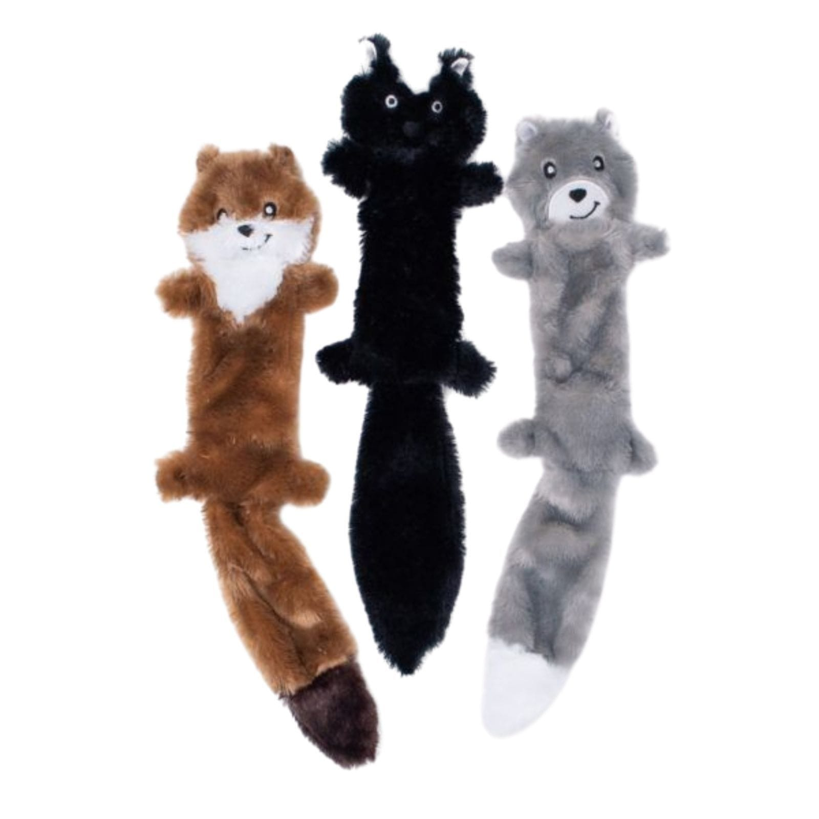 Zippy Paws Skinny Peltz 3-Pack Large (Weasel, Skunk, Wolf) Dog Toys