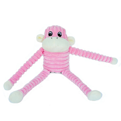 Zippy Paws Spencer the Crinkle Monkey - Small Pink