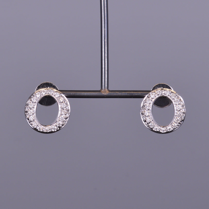 Diamond Perpetual Light Button Circle Earrings