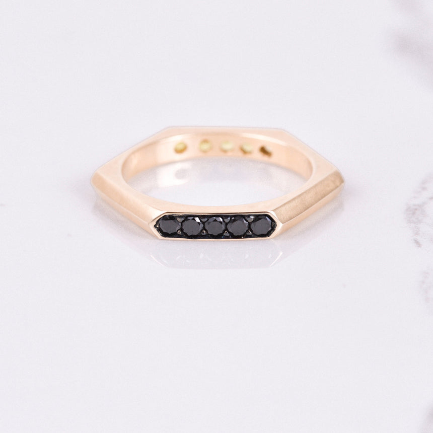 black diamond rose gold band