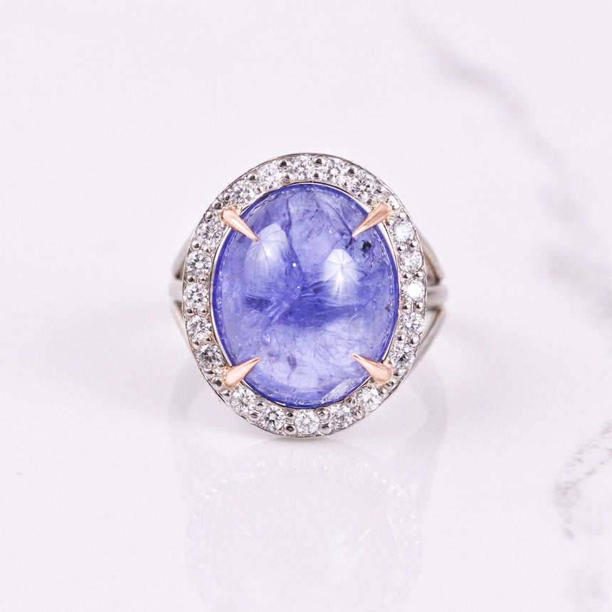 tanzanite and diamond ring in white and rose gold