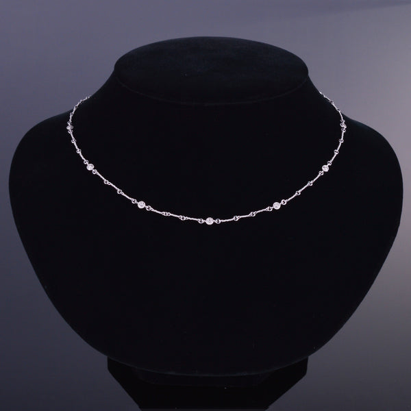 LXV Della Bezel Rigid Diamond Chain Necklace
