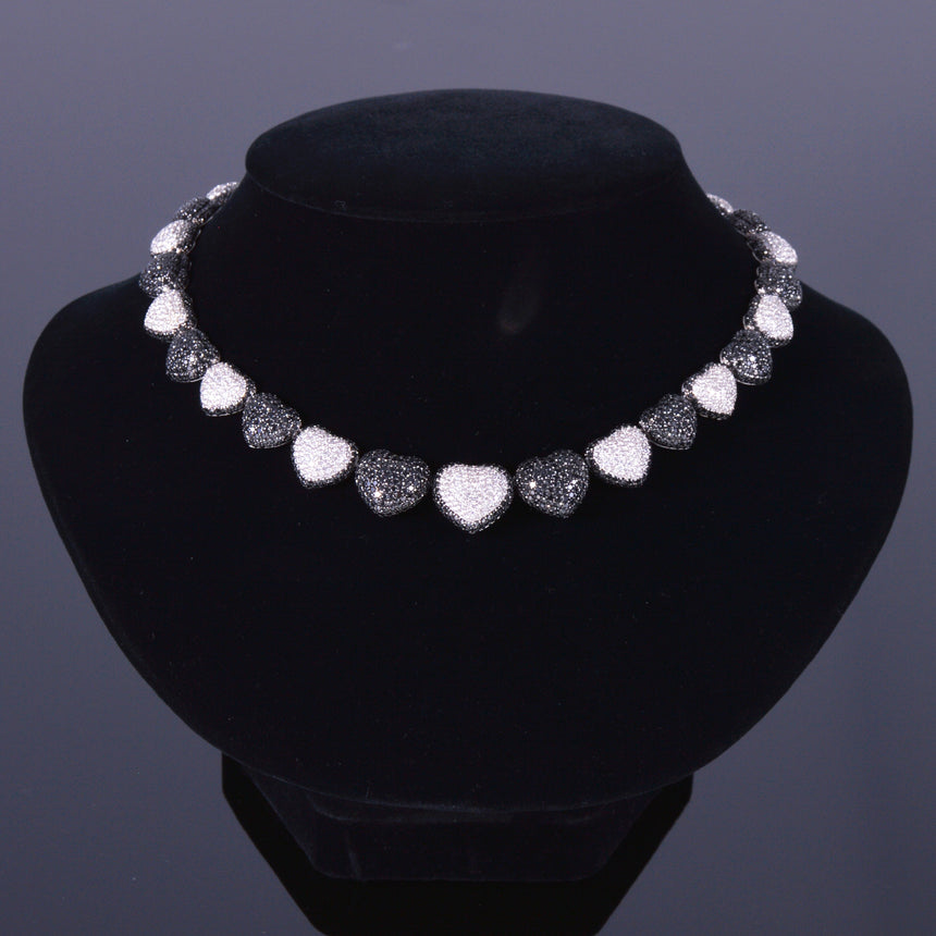 Black and White Diamond Hearts Necklace