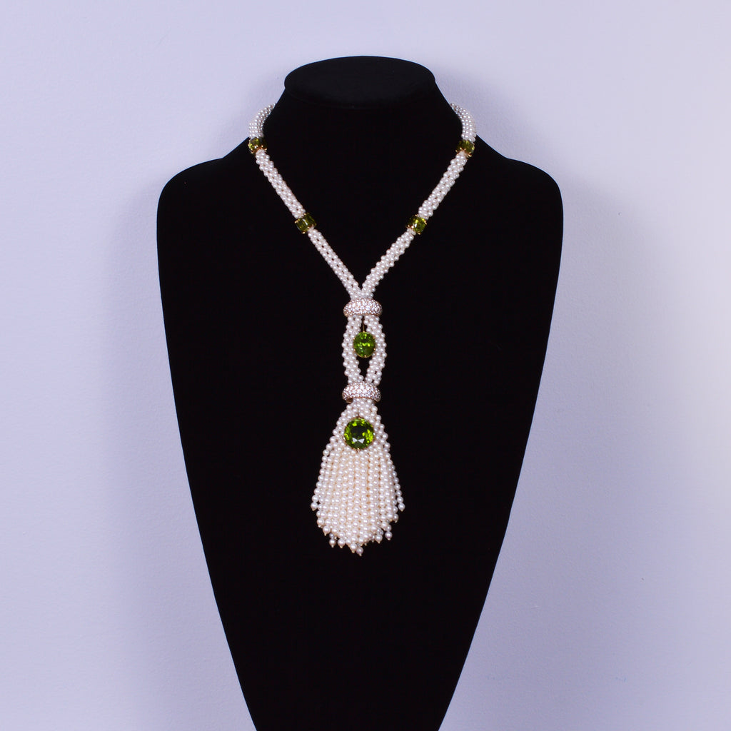 Akoya Pearl Necklace with Peridot and Diamonds
