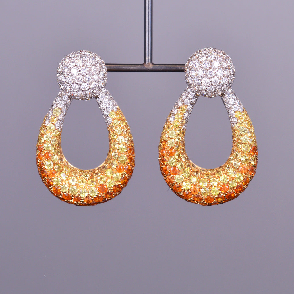 Yellow Sapphire, Orange Sapphire and Diamond Earrings