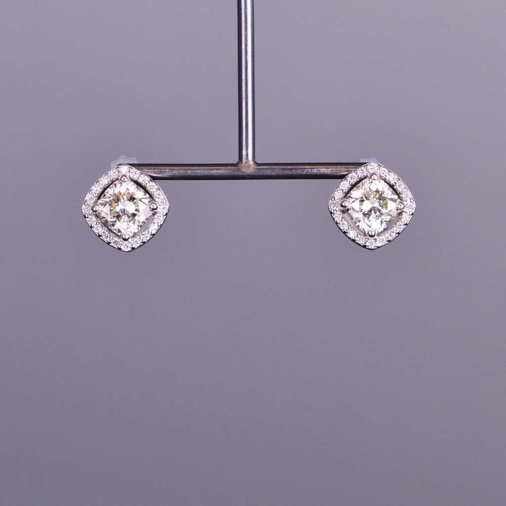 Diamond Studs Earrings with Diamond Halo