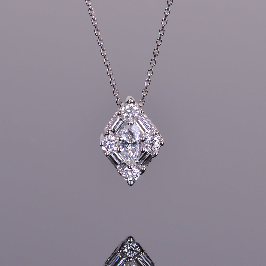 Marquise Baguette and Round Diamond Pendant