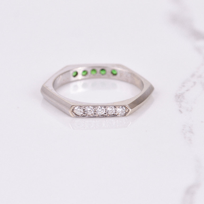 diamond and tsavorite garnet hexagon band in white gold