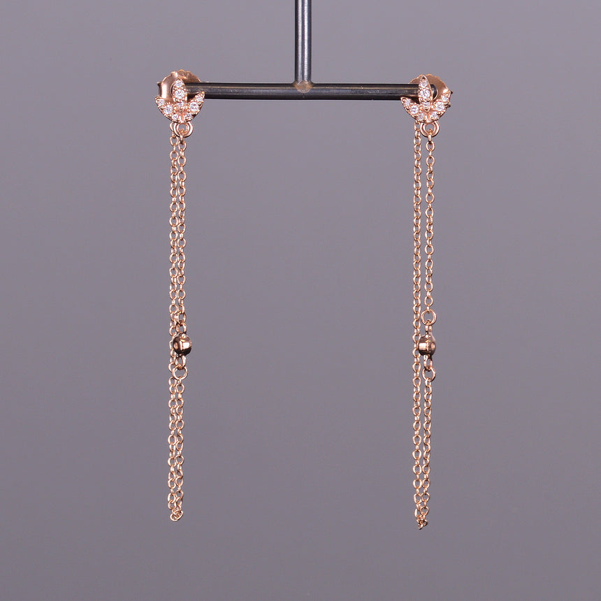 Diamond Leaf Chain Earrings