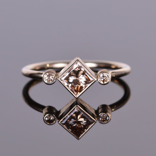 Champagne Cognac Princess Cut Diamond Hand Engraved Ring 14k Yellow Gold