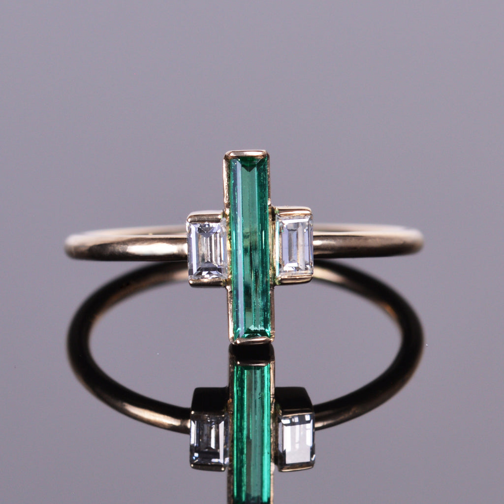 Unique Elongated Emerald and Diamond Baguette Ring – Louis XV Jewelers FW22