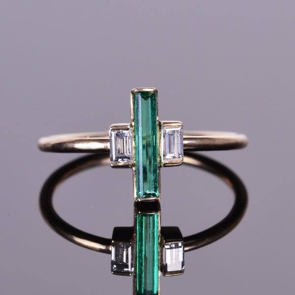 Elongated Emerald and Diamond Baguette Ring