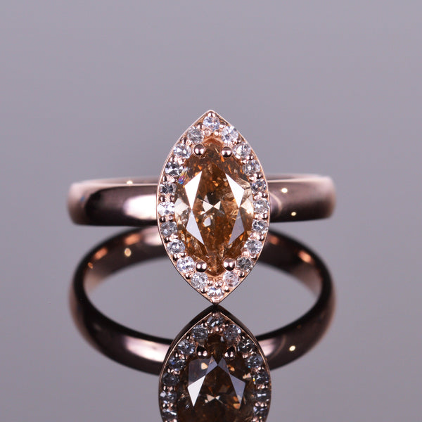 Marquise Cut Chocolate Diamond Ring with Antique Diamond Halo