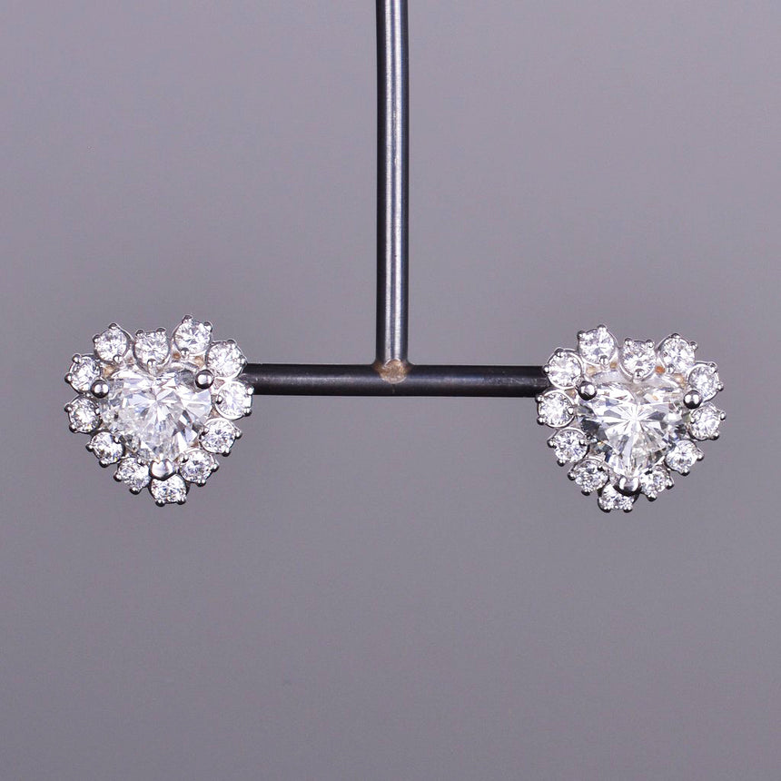 Diamond Heart Halo Stud Earrings