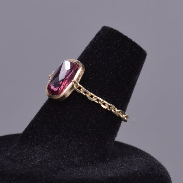 Upside Down Rubellite Chain Ring in 14k Yellow Gold