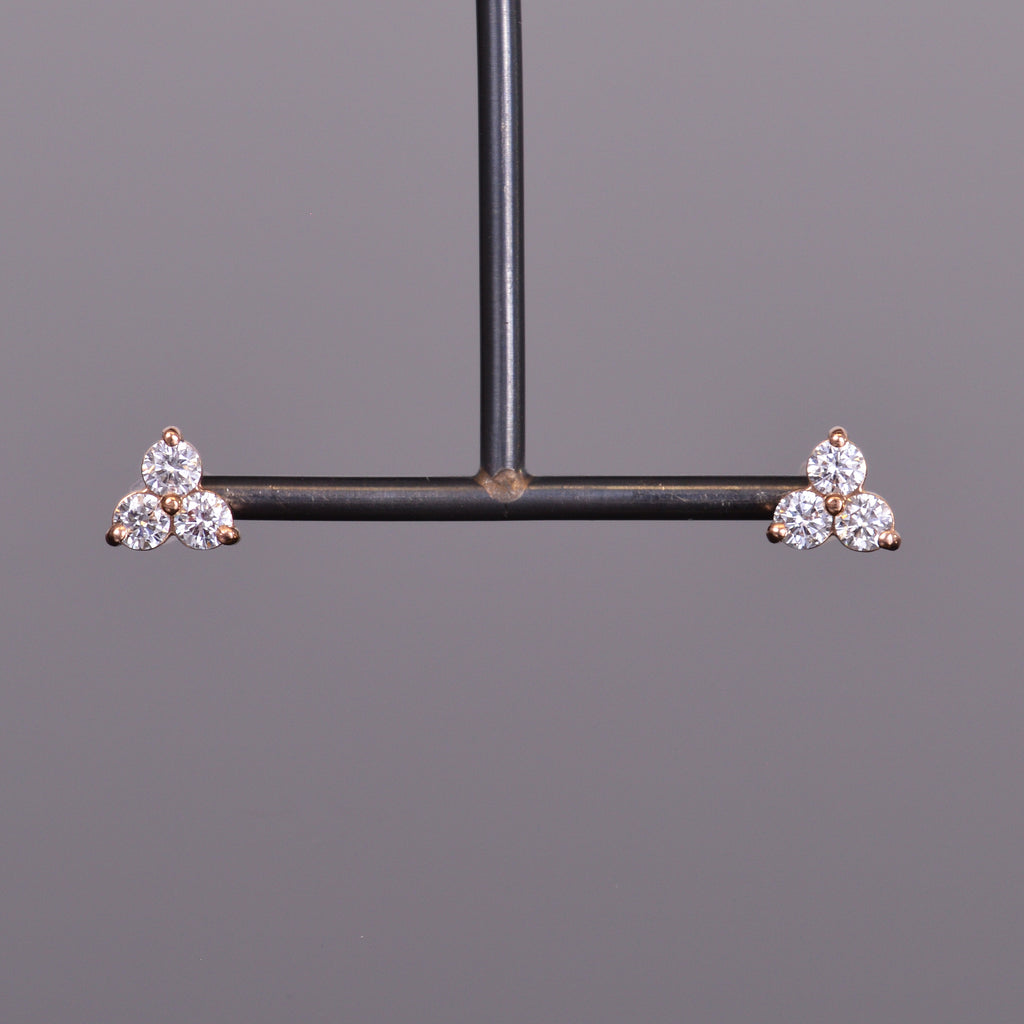 LXV Diamond Clover Earrings in Rose Gold