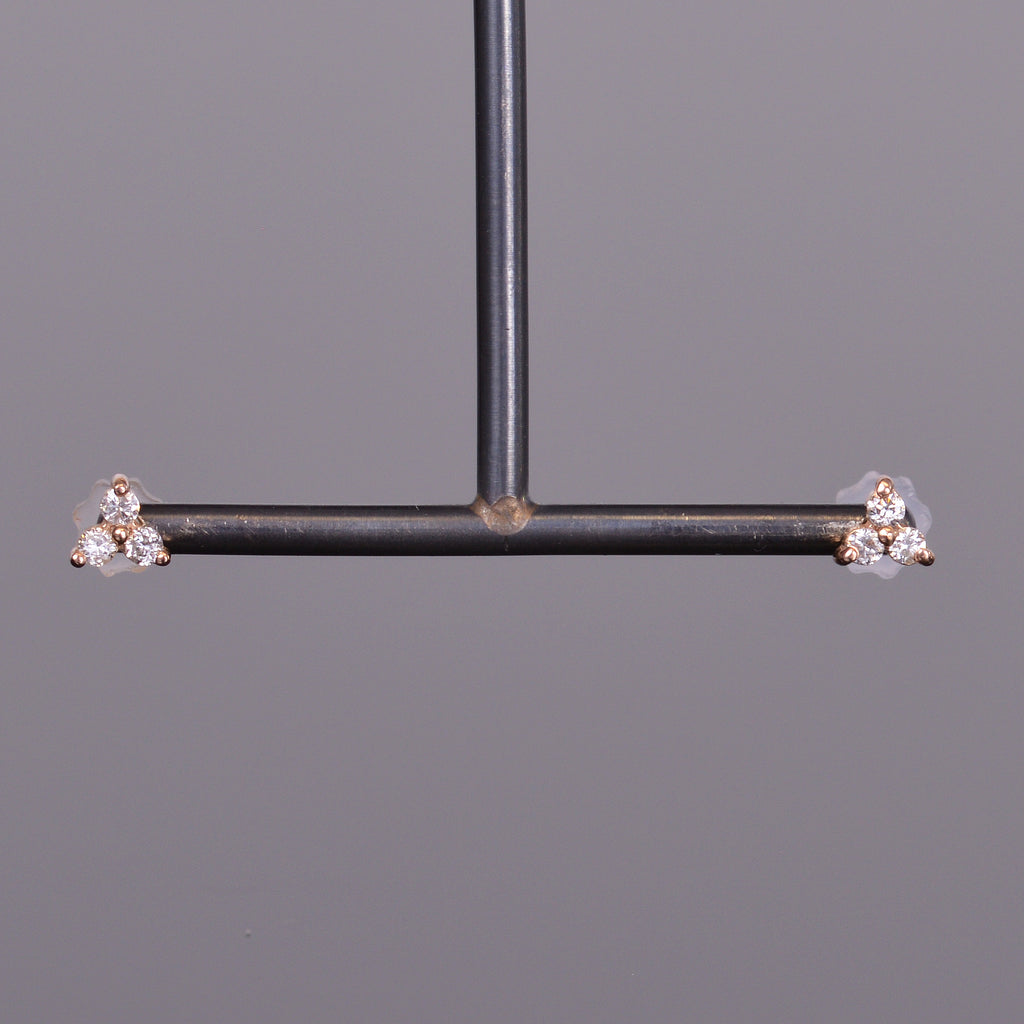 LXV Petite Diamond Clover Earrings in Rose Gold
