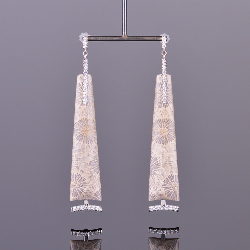 fossilized coral and diamond dangle earrings