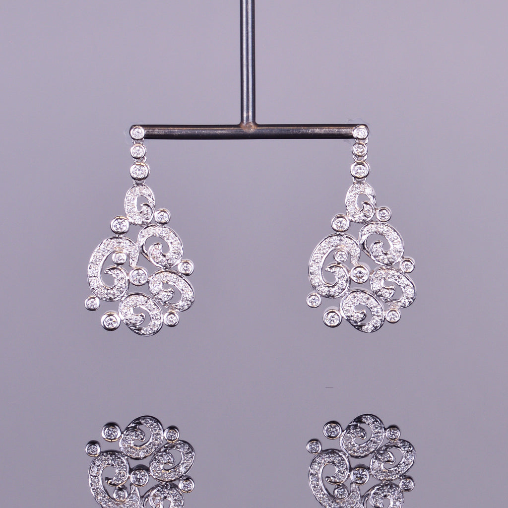 Diamond Spiral Chandelier Earrings