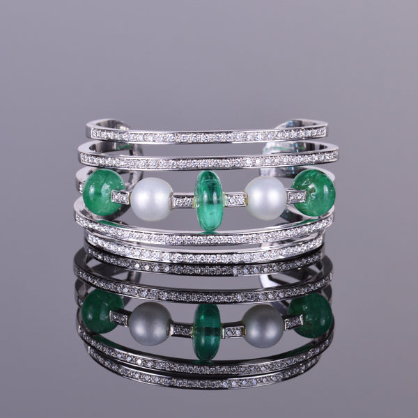 Pearl, Emerald, and  Diamond Cuff Bracelet (Estate)