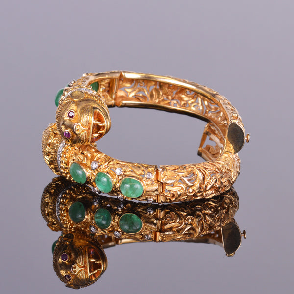 Antique Emerald, Diamond and Ruby Monkey Bracelet (Estate)