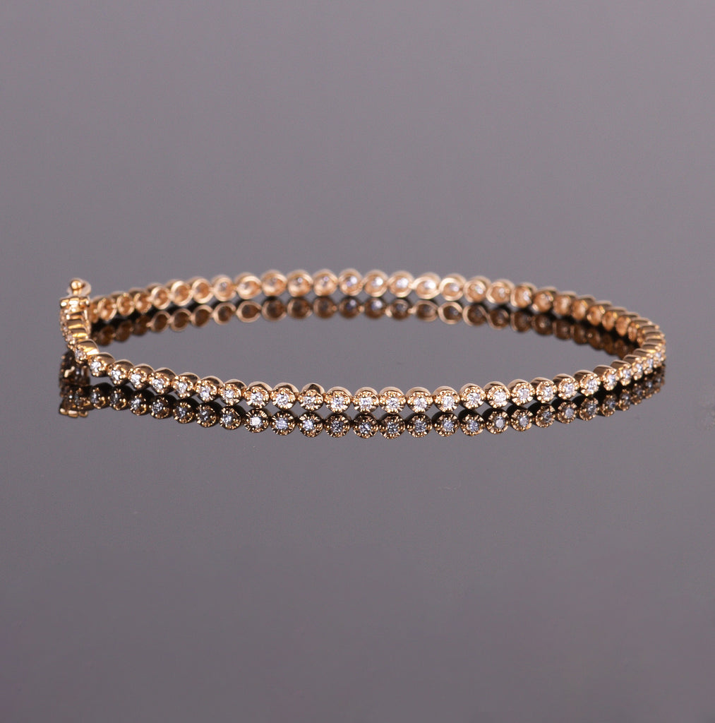 Diamond Scallop Tennis Bracelet (Estate)