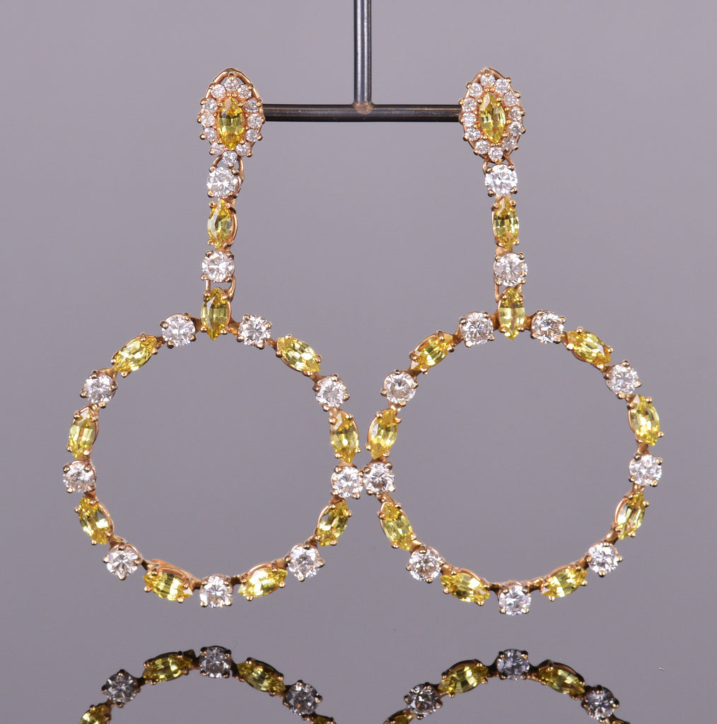 Diamond and Yellow Sapphire Chandelier Earrings
