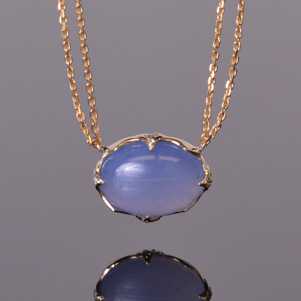 Cabochon Chalcedony Pendant with Diamonds