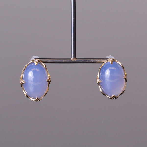 Cabochon Chalcedony and Diamond Earrings
