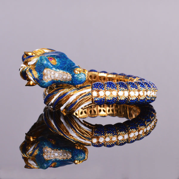 Diamond, Ruby, & Enamel Gold Horse Bracelet 18k Yellow Gold (Estate)