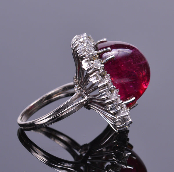 Rubellite Tourmaline and Diamond Halo Ring (Estate)