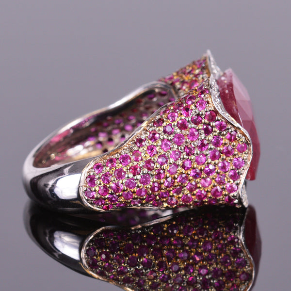 Ruby and Diamond Pave Ring