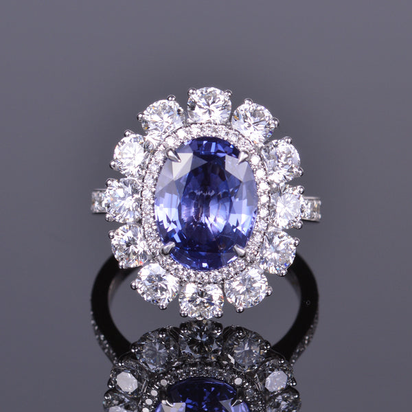 Blue/Violet Oval Sapphire and Diamond Ring