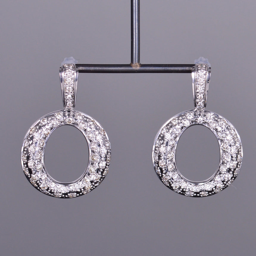Diamond Drop Circle Earrings