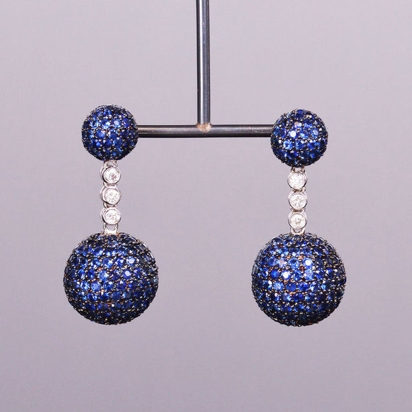 Blue Sapphire and Diamond Ethereal Earrings with Black Rhodium