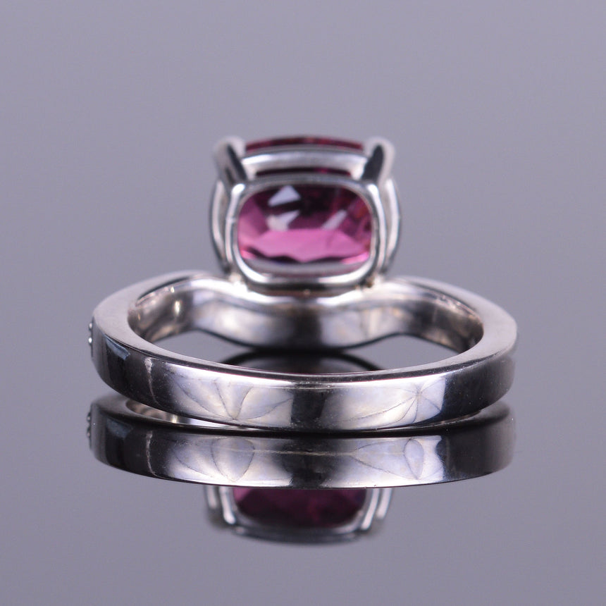 Rubellite and Diamond Ring