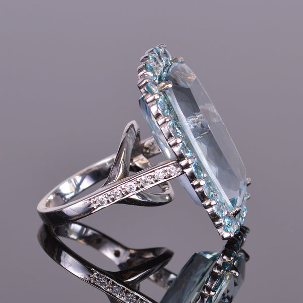 Aquamarine and Blue Zircon Halo Ring with Diamonds
