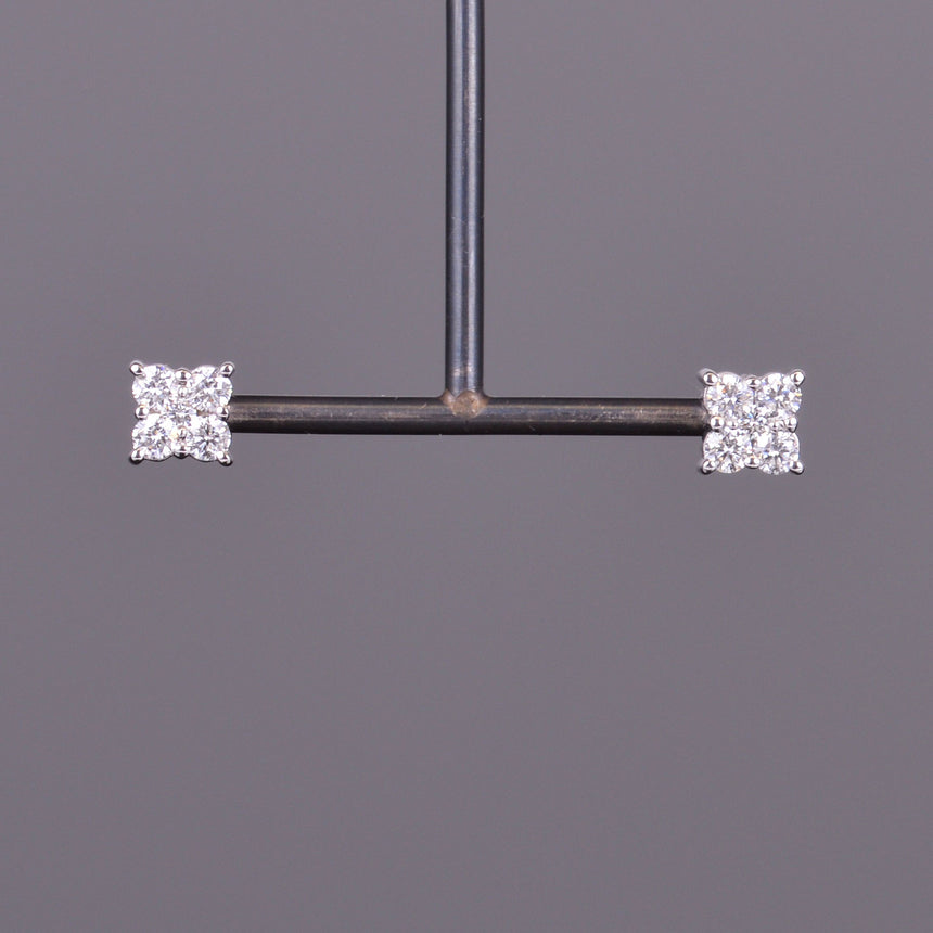 Diamond Cluster Square Stud Earrings