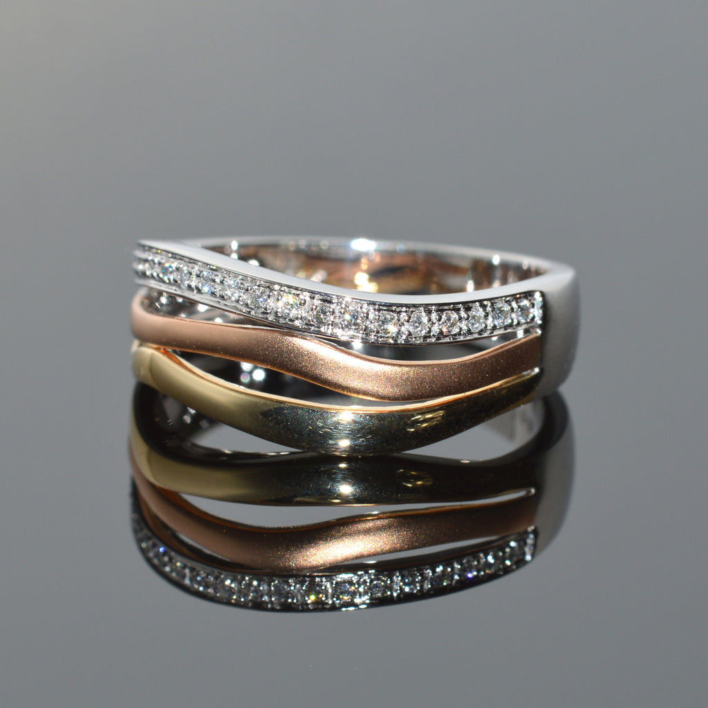 Tri-Tone, Rose White and Yellow Gold Diamond Band