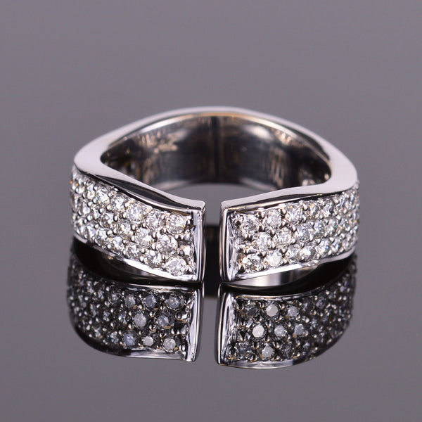 White Diamond Finger Cuff Band in White Gold