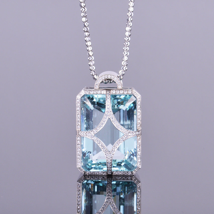 Aquamarine and Diamond Pendant (Estate)