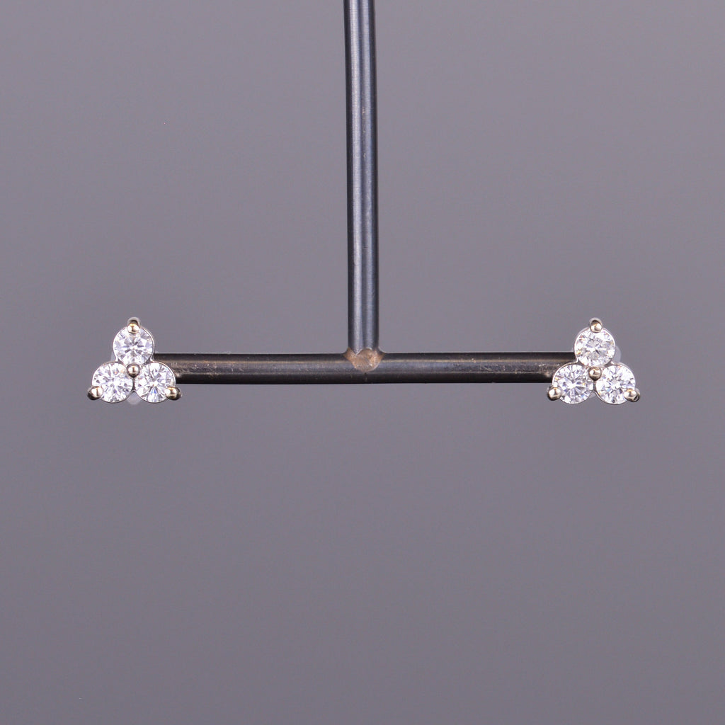 LXV Diamond Clover Earrings in White Gold