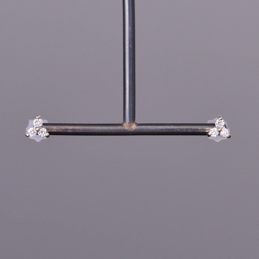 LXV Petite Diamond Clover Earrings in White Gold
