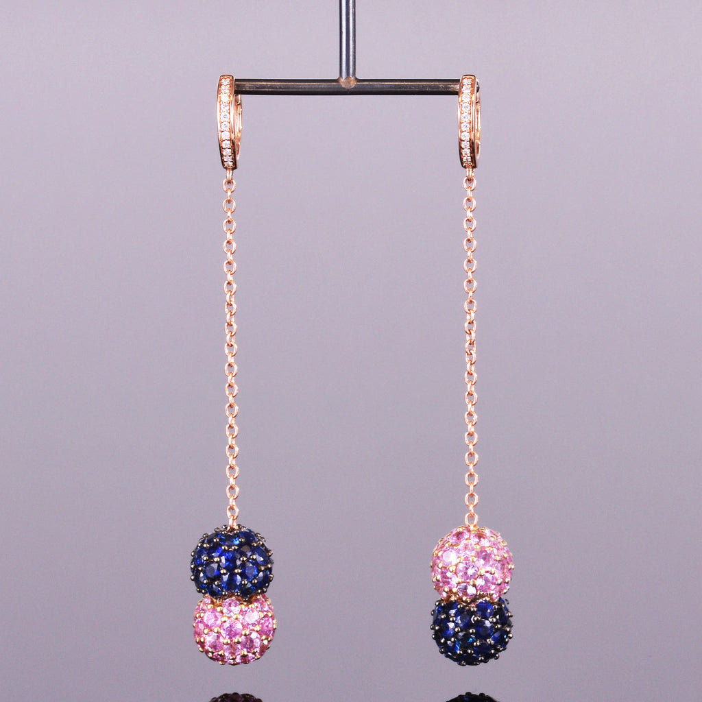 Blue and Pink Sapphire Chain Earrings with Diamond Hoops