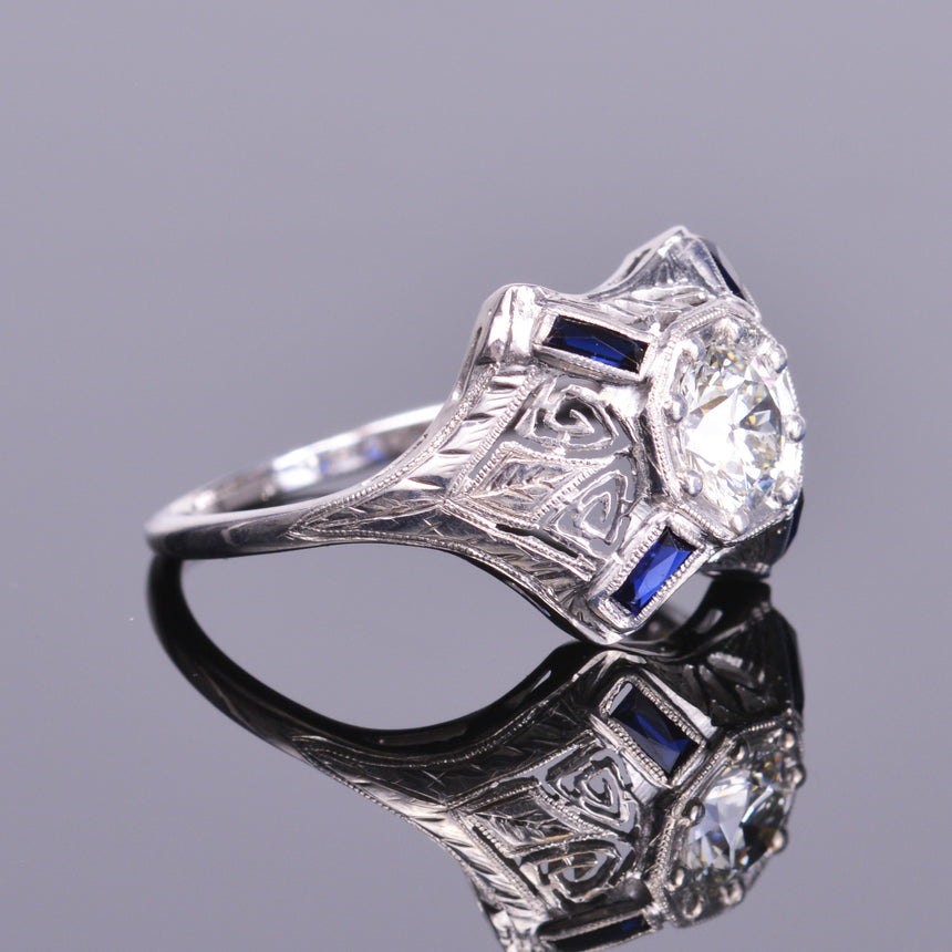 Old European Diamond and Sapphire Antique Ring  (Estate)