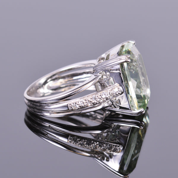 Cushion Cut Green Amethyst and White Sapphire Ring