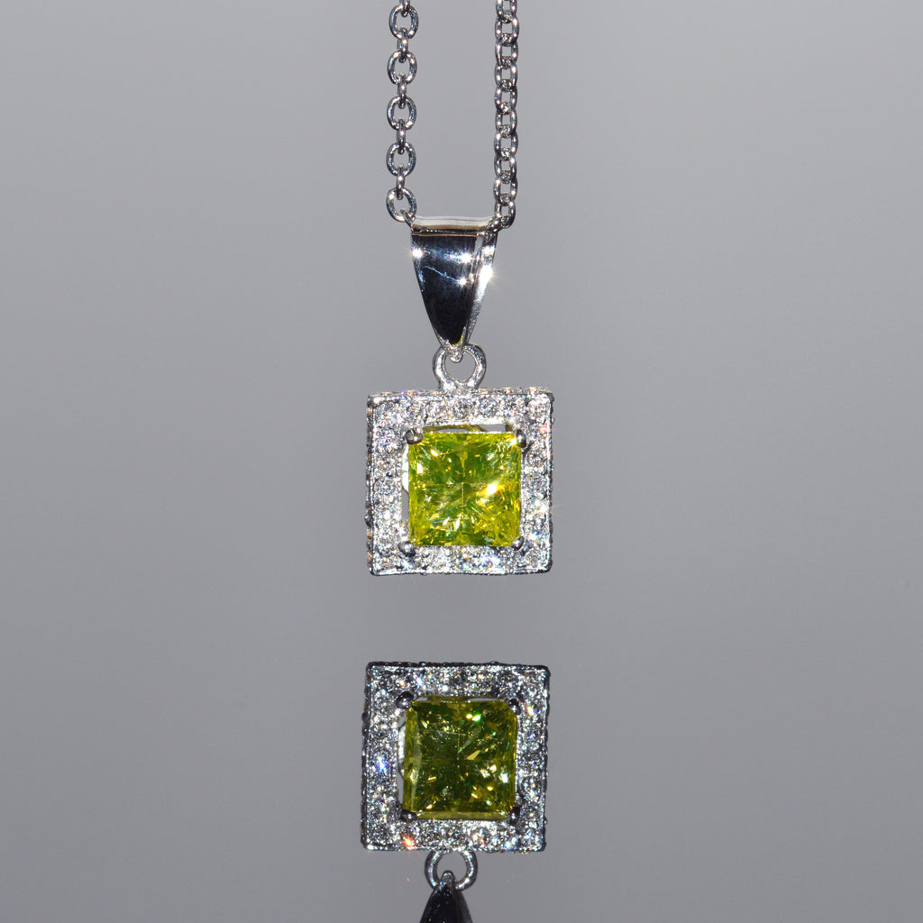Yellow Diamond Princess Halo Pendant