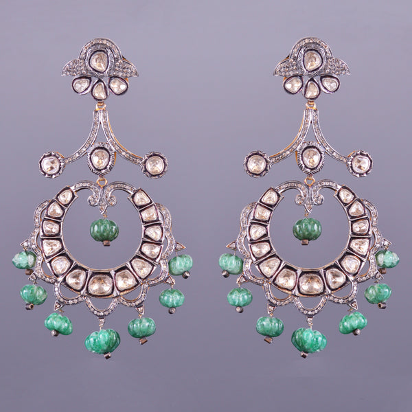 Antique Diamond and Emerald Earrings (Estate)